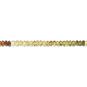 bead, multi-tourmaline (natural), shaded, 2x1mm-3x2mm faceted rondelle, b grade, mohs hardness 7 to 7-1/2. sold per 16-inch strand.