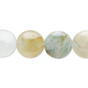bead, multicolored aquamarine (heated), 15mm puffed flat round, c- grade, mohs hardness 7-1/2 to 8. sold per 16-inch strand.