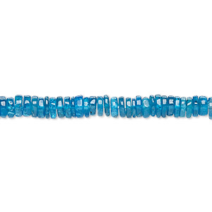 bead, neon apatite (natural), 4x1mm-5x2mm hand-cut rondelle, b grade, mohs hardness 5. sold per 8-inch strand, approximately 100-150 beads.