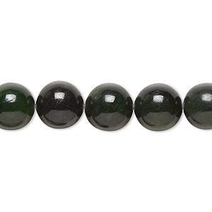 bead, nephrite jade (natural), medium to dark, 10mm round, c grade, mohs hardness 6 to 6-1/2. sold per 16-inch strand.