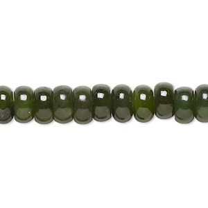 bead, nephrite jade (natural), medium to dark, 8x4mm hand-cut rondelle, c grade, mohs hardness 6 to 6-1/2. sold per 16-inch strand.