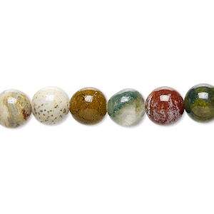 bead, ocean jasper (natural), 8mm round, b grade, mohs hardness 6-1/2 to 7. sold per 16-inch strand.
