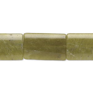 bead, olive new jade (natural), 40x25mm rectangle, b grade, mohs hardness 2-1/2 to 6. sold per 16-inch strand.