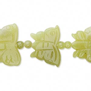 bead, olive new jade (natural), 4mm round and 21x12mm-23x17mm carved butterfly, b- grade, mohs hardness 2-1/2 to 6. sold per 15-inch strand.