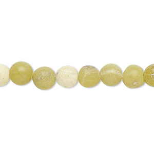 bead, olive new jade (natural), 6-7mm round, d grade, mohs hardness 2-1/2 to 6. sold per 15-inch strand.