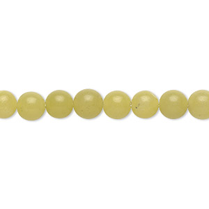 bead, olive new jade (natural), 6mm round, b grade, mohs hardness 2-1/2 to 6. sold per 16-inch strand.