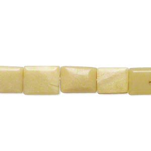 bead, olive new jade (natural), 9x7mm-12x9mm hand-cut puffed rectangle, c- grade, mohs hardness 2-1/2 to 6. sold per 16-inch strand.