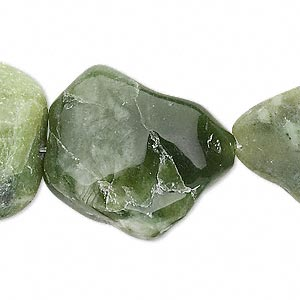 bead, olive new jade (natural), large nugget, mohs hardness 2-1/2 to 6. sold per 16-inch strand.