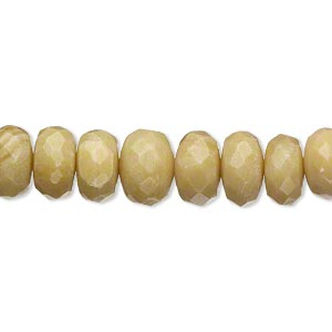 bead, olive new jade (natural), light, 9x4mm-11x8mm hand-cut faceted rondelle, b grade, mohs hardness 2-1/2 to 6. sold per 15-inch strand.