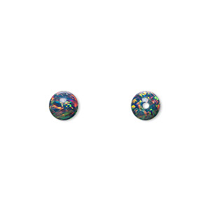 bead, opal (man-made), multicolored, 6mm round. sold individually.