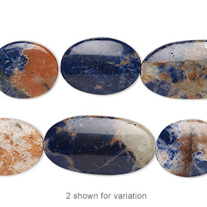 bead, orange sodalite (natural), 15x13mm-26x14mm hand-cut flat oval with 0.5-1.5mm hole, b grade, mohs hardness 5 to 6. sold per 8-inch strand, approximately 10 beads.