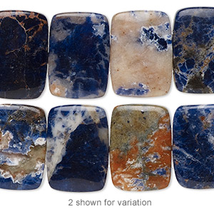 bead, orange sodalite (natural), 18x13mm double-drilled rectangle with 0.5-1.5mm holes, b grade, mohs hardness 5 to 6. sold per 8-inch strand, approximately 15 beads.