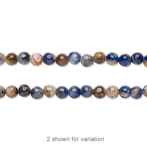bead, orange sodalite (natural), 4mm hand-cut round with 0.5-1.5mm hole, b grade, mohs hardness 5 to 6. sold per 16-inch strand.