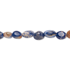 bead, orange sodalite (natural), small hand-cut pebble with 0.5-1.5mm hole, mohs hardness 5 to 6. sold per 8-inch strand, approximately 30 beads.