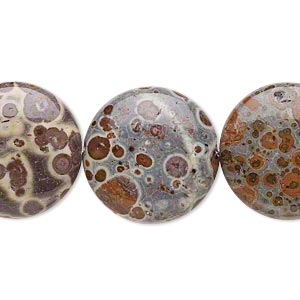 bead, orbicular jasper (natural), 20mm hand-cut puffed flat round, b grade, mohs hardness 6-1/2 to 7. sold per 8-inch strand.