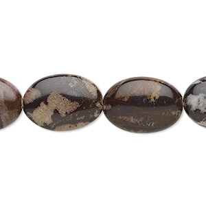 bead, outback jasper (natural), 18x13mm puffed oval with 0.5-1.5mm hole, b grade, mohs hardness 6-1/2 to 7. sold per 8-inch strand, approximately 10 beads.