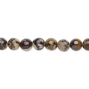 bead, outback jasper (natural), 6mm round with 0.5-1.5mm hole, b grade, mohs hardness 6-1/2 to 7. sold per 16-inch strand.