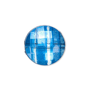 bead, painted acrylic, semitransparent clear and blue, 20mm faceted puffed flat round. sold per pkg of 40.