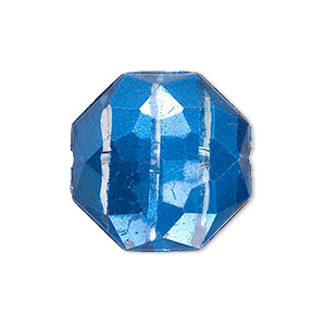 bead, painted acrylic, semitransparent clear and blue, 24x11mm faceted octagon. sold per pkg of 20.