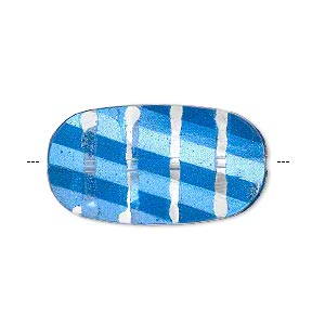 bead, painted acrylic, semitransparent clear and blue, 29.5x16mm faceted twisted flat oval. sold per pkg of 40.