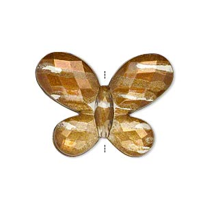 bead, painted acrylic, semitransparent clear and brown, 30x22mm faceted flat butterfly. sold per pkg of 40.
