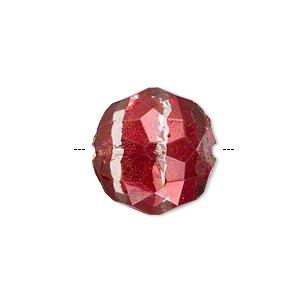 bead, painted acrylic, semitransparent clear and red, 19x11mm faceted octagon. sold per pkg of 40.