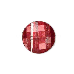 bead, painted acrylic, semitransparent clear and red, 20mm faceted puffed flat round. sold per pkg of 40.
