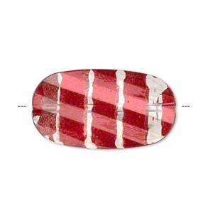 bead, painted acrylic, semitransparent clear and red, 29.5x16mm faceted twisted flat oval. sold per pkg of 40.