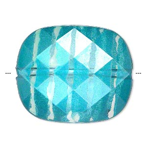 bead, painted acrylic, semitransparent clear and teal blue, 34.5x29mm faceted rounded rectangle. sold per pkg of 10.