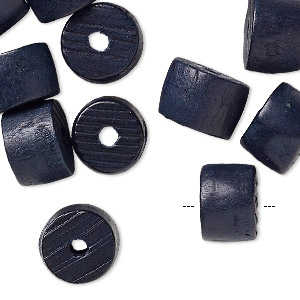 bead, painted vintage japanese wood, dark blue, 13x9mm drum with 2.5-3mm hole. sold per pkg of 24.