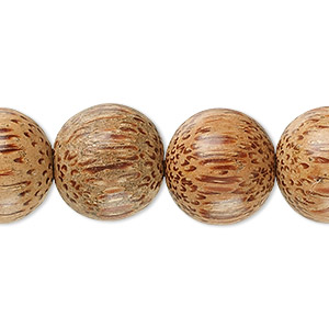 bead, palm wood, 15mm round. sold per 16-inch strand.