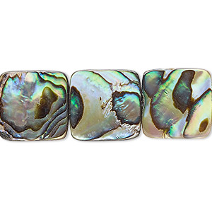 bead, paua shell and resin (assembled), 15x15mm flat square. sold per 16-inch strand.
