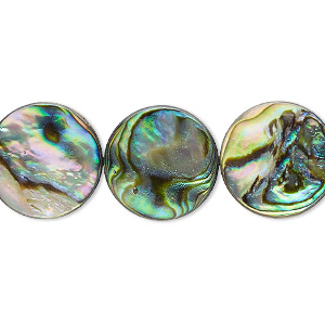 bead, paua shell (assembled), 16mm flat round. sold per 16-inch strand.