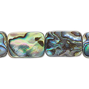bead, paua shell (assembled), 18x13mm rectangle, mohs hardness 3-1/2. sold per 16-inch strand.