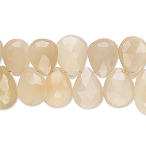 bead, peach moonstone (natural), light, 11x8mm-15x11mm hand-cut top-drilled faceted puffed teardrop, b+ grade, mohs hardness 6 to 6-1/2. sold per 4-inch strand.