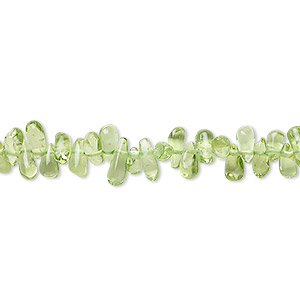 bead, peridot (natural), 6x3mm-8x4mm hand-cut top-drilled teardrop, b- grade, mohs hardness 6-1/2 to 7. sold per 16-inch strand.