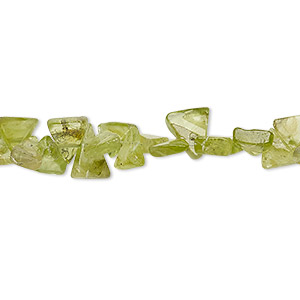 bead, peridot (natural), 6x5x4mm-10x10x7mm hand-cut top-drilled flat triangle, c grade, mohs hardness 6-1/2 to 7. sold per 14-inch strand.