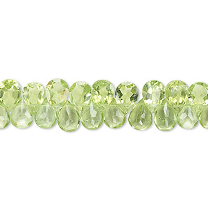 bead, peridot (natural), 7x5mm hand-cut top-drilled faceted puffed teardrop, b- grade, mohs hardness 6-1/2 to 7. sold per 8-inch strand, approximately 70 beads.