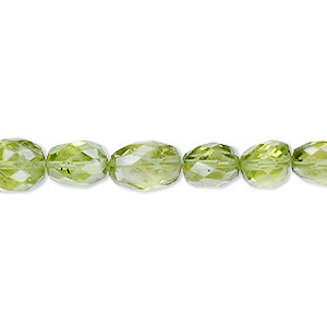 bead, peridot (natural), 7x7mm-10x8mm hand-cut faceted oval, b- grade, mohs hardness 6-1/2 to 7. sold per 16-inch strand.