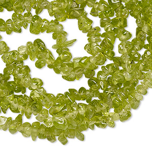 bead, peridot (natural), small hand-cut chip, mohs hardness 6-1/2 to 7. sold per 34-inch strand.