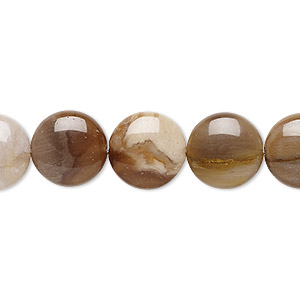 bead, petrified wood (natural), 12mm puffed flat round, b grade, mohs hardness 6-1/2 to 7. sold per 8-inch strand, approximately 15 beads.