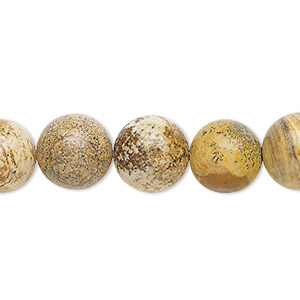 bead, picture jasper (natural), 12mm round, b grade, mohs hardness 6-1/2 to 7. sold per 16-inch strand.