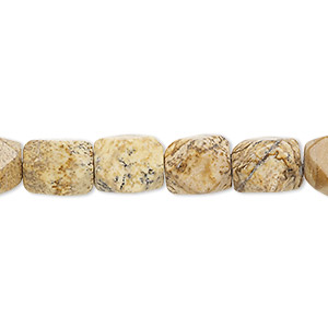 bead, picture jasper (natural), medium to large faceted tumbled pebble, mohs hardness 6-1/2 to 7. sold per 16-inch strand.