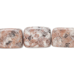 bead, pink feldspar (natural), small to medium rectangular nugget, mohs hardness 6 to 6-1/2. sold per 15-inch strand.