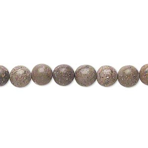bead, pink leopardskin jasper (natural), 6mm round, c grade, mohs hardness 6-1/2 to 7. sold per 15-inch strand.