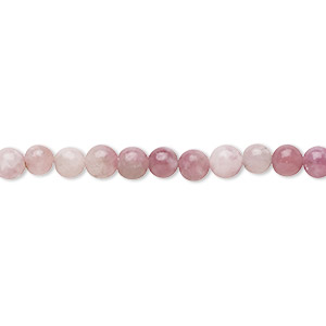 bead, pink lepidolite (natural), 4mm round, b grade, mohs hardness 2-1/2 to 4. sold per 8-inch strand, approximately 50 beads.