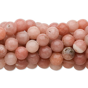 bead, pink lepidolite (natural), 6mm round, c grade, mohs hardness 2-1/2 to 4. sold per pkg of (10) 16-inch strands.