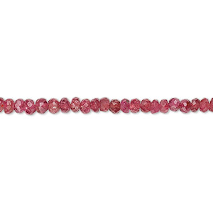 bead, pink spinel (natural), 2mm-3x2mm hand-cut faceted rondelle, b grade, mohs hardness 8. sold per 8-inch strand.