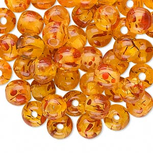 bead, plastic, amber yellow, 8mm round. sold per pkg of 100.