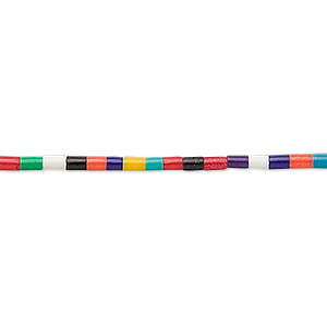 bead, plastic, multicolored, 2-3mm heishi with 0.6-0.8mm. sold per 22-inch strand.